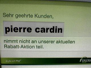 pierre cardin nimmt nicht an der aktuellen rabatt-aktion teil