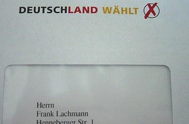 brief: deutschland wählt / herrn frank lachmann (..)