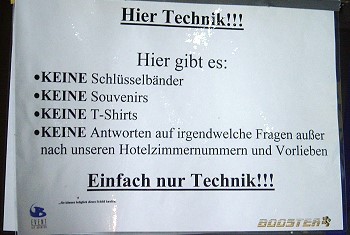 games convention 2004, schild 'hier technik'