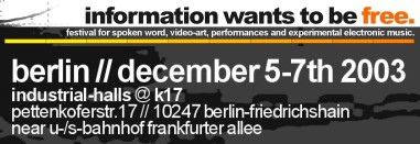 information wants to be free festival 'flyer'