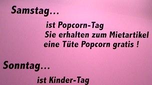 samstag popcorn-tag, sonntag kinder-tag!