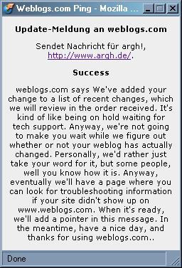 weblogs.com statusmeldung