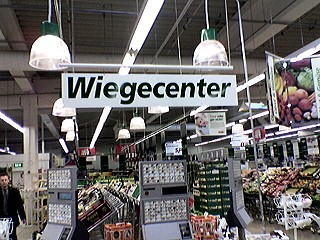 schild im supermarkt: wiegecenter